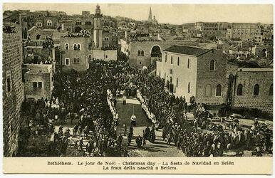 Postkarte Bethléhem [Bethlehem]. Le jour de Noël