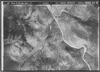 Fotografie Wadi Malaki - Wadi Schami Kolb südl. v. der el-kaddis [Deir Qaddis] Anschluss an 564 r [GDIp00537] 654 l [GDIp00536]