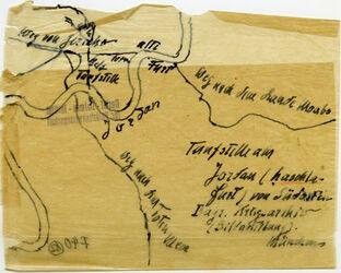 Karte Taufstelle am Jordan [Hadschla-Furt (Taufstelle, nach Gustaf Dalman)] von Südosten Bayr. Kriegsarchiv (Bildabteilung) Münchens