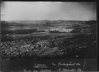 Fotografie Djemin [Jenin]. Im Hintergrund die Berge [?] von Gilboa Bodenaufnahme Rechte Fortsetzung von B [GDIp00618?] gleicher Standpunkt UBR West
