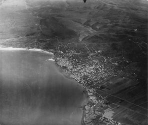 Fotografie Haifa darüber Karmel Anschluss an das Karmelbild l. Kisonmündung [Kishon; GDIp00652?]