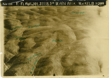 Fotografie W. Ain Arik [Wadi en-arik]. W. el Kelb [wadi kelt] w. ed-dilb (nicht Dithe) w. el-kalb