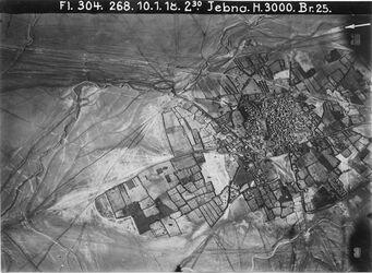 Fotografie Jebna Anschl. ö.n. l. (Bachbatt) an Nr. 333 [GDIp00831] o.n.l. jebna oben Bahn kanntara-lidd [?, Lod] unterhalb d. Stadt Strasse Guzu-Jaffa [Tel Aviv] oben Oberlauf des nahr rubin [Wadi es Sarar]