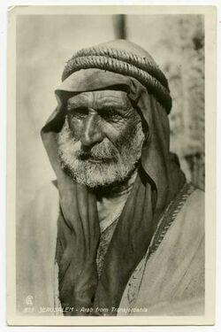 Fotografie Jerusalem - Arab from Transjodania [Beduine, Postkarte an Gustaf Dalman]