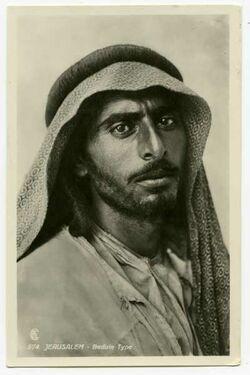Fotografie Jerusalem - Beduin Type [Beduine, Postkarte an Gustaf Dalman]