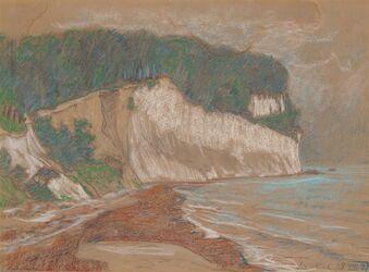Handzeichnung Steilküste mit Strand