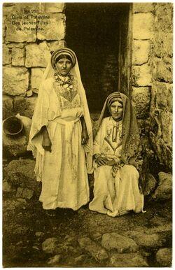 Fotografie Girls of Palestine. Des jeunes filles de Palestine. [Postkarte an Gustaf Dalman]