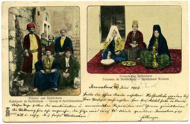 Fotografie Männer aus Bethlehem […]. Frauen aus Bethlehem [...]. [Postkarte an Gustaf Dalman]