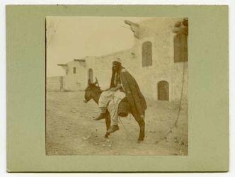 Fotografie Kamelführer zu Esel