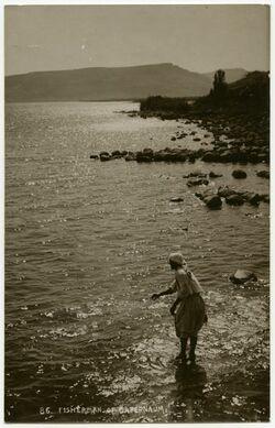 Fotografie Fisherman of Capernaum. Bei et-tabera in der Nähe der Quellen [Postkarte, Fischen, wohl See Genezareth]