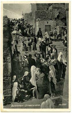 Fotografie Bethlehem-Straßenszene [Postkarte an Gustaf Dalman]