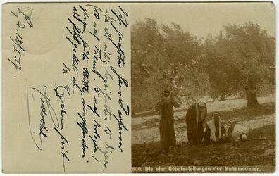Fotografie Absaloms Grab und Goldenes Tor. [Islam, Postkarte an Gustaf Dalman]