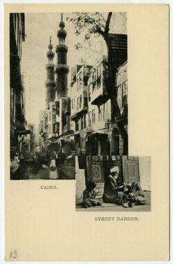 Fotografie Cairo. Street Barber. [Islam]