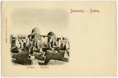 Fotografie Damascus. - Damas. Friedhof - Cimetière. [Damaskus] [Postkarte]