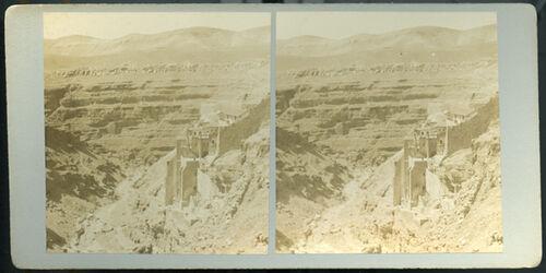Stereofotografie Mar Saba & Kedron Valley. [Mar Saba und das Kidrontal]