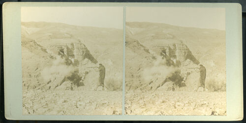 Stereofotografie The convent of St. George in the Gorge of the Cherith. [Wadi Kelt]