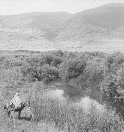 GDIs00064; Stereofotografie; River Kishon and Mount Carmel from Esdraelon. [Fluss Kishon und Berg Karmel von Jesreel], aus 153 Stereoskopbildern mit wohl dazugehörigem Stereoskop