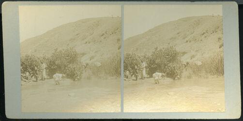 Stereofotografie Wadi Zerka (. The Jabbok). [zwischen Amman und Gerasa]