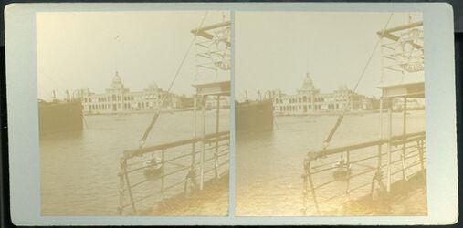 Stereofotografie The Building of the Suez Canal Company. [Port Said, Gebäude der Suez-Kanal-Gesellschaft]