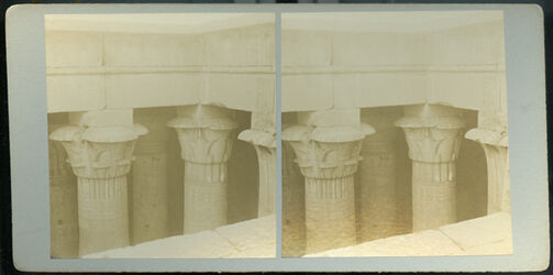 Stereofotografie Details of Capitals in Temple of Isis, Island of Philiae.