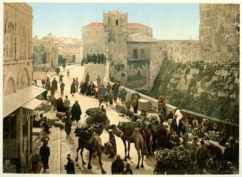 Photochrom Jérusalem. Le Bazar. [Jerusalem, Basar]