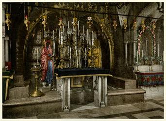 Photochrom Jérusalem. Le Calvaire. [Jerusalem, Grabeskirche, Kalvarienberg [sog. Golgatha-Felsen]]
