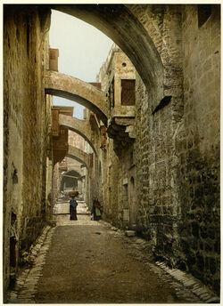 Photochrom Jérusalem. Via Dolorosa. [Jerusalem, Via Dolorosa]
