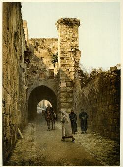 Photochrom Jérusalem. La Tour Antonia. [Jerusalem, Burg Antonia, Turm]