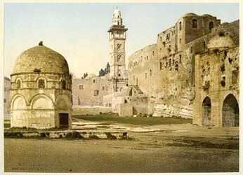 Photochrom Jérusalem Assises des la Tour Antonia. [Jerusalem, Burg Antonia, Befestigungsanlage]