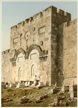 Photochrom Jérusalem. La Porte Dorée. [Jerusalem, Goldene Pforte]
