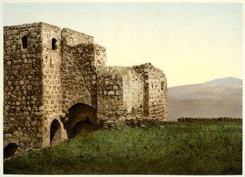 Photochrom Jezraël. Les ruines du Palais Ahab. [Jesreel, sog. Palais des Ahab]