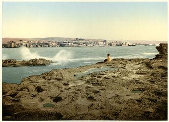 Photochrom Sidon. Vue générale.