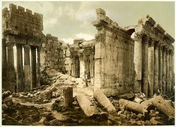 Photochrom Balbek. Façade du Temple de Jupiter. [Baalbek, Jupiter-Tempel, Fassade]