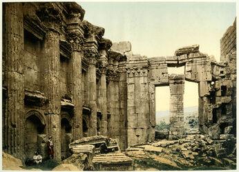 Photochrom Balbek. Temple de Jupiter. Intérieur. [Baalbek, Jupiter-Tempel, Inneres]
