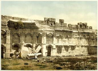 Photochrom Balbek. Temple du Soleil. Chambre Carrée. [Baalbek, Sonnentempel, Detail]