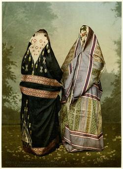 Photochrom Femmes musulmanes syriennes à Beyrouth costume de ville [Syrien, Beirut, muslimische Frauen in Stadt-Tracht]