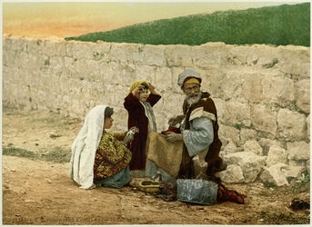 Photochrom Cordonnier ambulant à Jérusalem. [Umherziehende Seiler in Jerusalem]