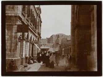 Fotografie Strasse an der N.seite der Erlöserkirche Altes Portal [Jerusalem]