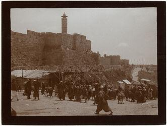 Fotografie Kastell u. Westmauer v. NW [Jerusalem]