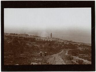 Fotografie nikefuriji [?], Weg nach malher [?] Bl. auf Dormitio v. W [Jerusalem]