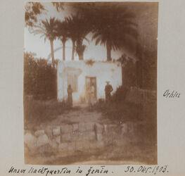 Fotoalbum Unser Nachtquartier in Genin [Jenin, Dschenin, Djenin]. 30. Okt. 1903. Oehler.