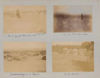 GDIs01127; Fotoalbum; Auf dem Web z. Toten Meer. Pfenningsdorf. 5. Dez. 1903., Album Gustaf Dalman, 1903-05, Blatt 9 Rückseite bis 10 Vorderseite [Einzelbilder: GDIs01128-GDIs01132]