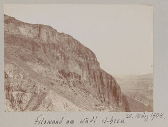 Fotoalbum Felswand am wadi el-hesa 20. März 1904
