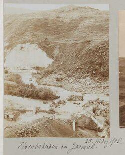 Fotoalbum 28. März 1905. Eisenbahnbau am Jarmuk.