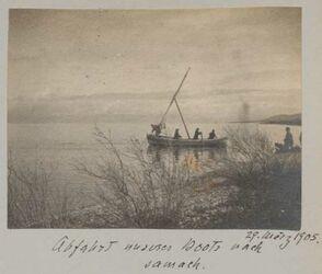 Fotoalbum 29. März 1905. Abfahrt unseres Boots nach samach [See Genezareth].