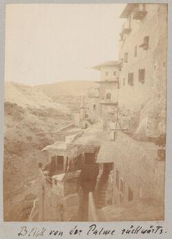 Fotoalbum Grabkapelle von Mar Saba.Blick von der Palme rückwärts [Mar Saba].