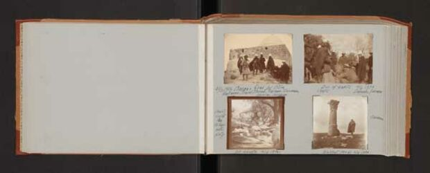 GDIs01683; Fotoalbum; -, Album Gustaf Dalman, 1906-10, Rückseite Blatt 3, Vorderseite Blatt 4 [Bilder: GDIs01684- GDIs01687]