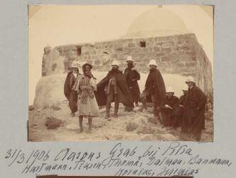 Fotoalbum 31/3 1906 Aarons Grab bei Petra Hartmann, Trusen, Thomä, Dalman, Baumann, Horning, Jeremias