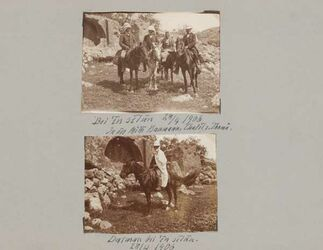 GDIs01698; Fotoalbum; -, Album Gustaf Dalman, 1906-10, Rückseite Blatt 6, Vorderseite Blatt 73 [GDIs01699- GDIs01700]