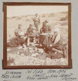 Fotoalbum Gressmann [Greßmann], Pater [Vater?] Ehrlich Chalil Kons. Schmidt Frau Schmidt Dalman Bei libb Nov. 1906